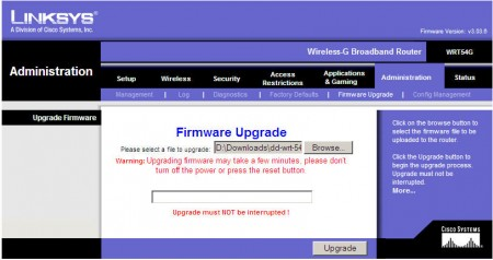 wrt54g-firmware-upgrade-page